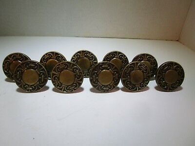 Set of 10 Vintage Brass Ornate Round Knob Handle Pulls with Screws 1 3/8""