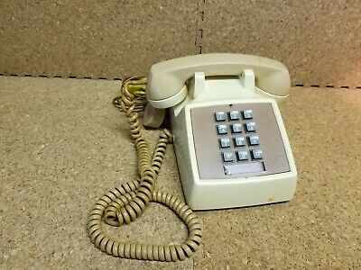 Vintage Western Bell System Electric Touch Tone Telephone 2500D Cream/Brown