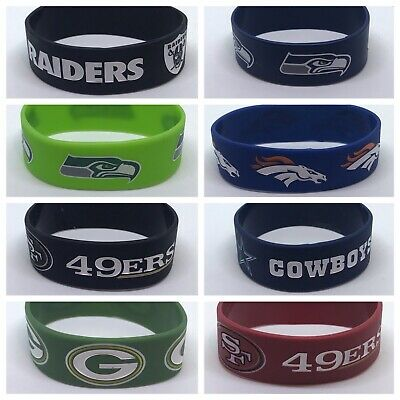 NFL Football Silicone Rubber Wristband Bracelets Choose Your Team Free Shipping