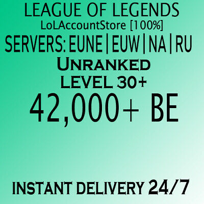 League of Legends Account LOL EUW EUNE RU 39000+ BE Unranked Level 30+ Smurf