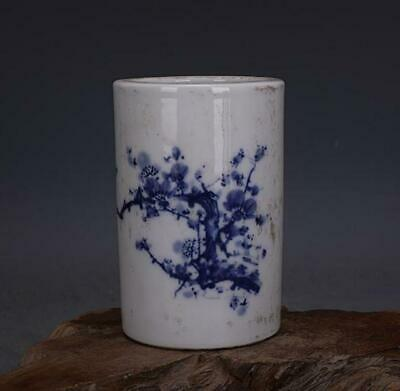 chinese old Blue and white porcelain hand-painted plum blossom Brush pot 061180