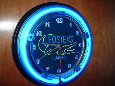 Foster's Crocodile Beer Bar Advertising Man Cave Blue Neon Wall Clock Sign