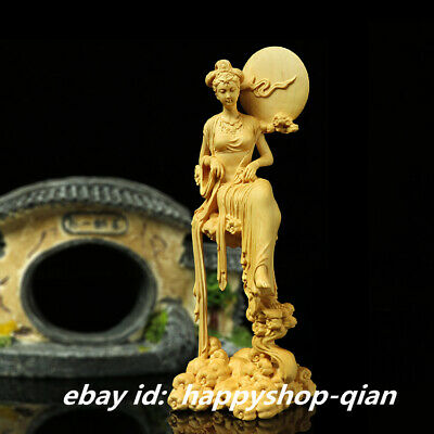 """7.1"""" Chinese Box-wood Hand-carved Chang'e Moon Goddess Fairy Rabbit Statue 嫦娥奔月"""