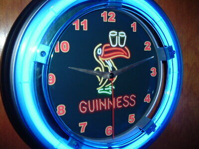 Guinness Stout Toucan Beer Bar Advertising Man Cave Blue Neon Wall Clock Sign2