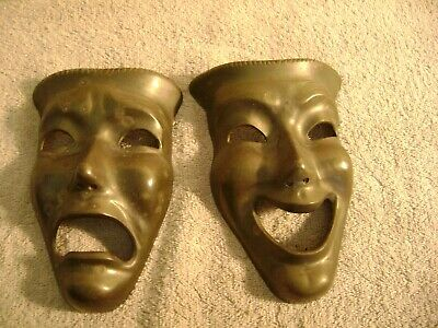 Vintage Solid Brass Comedy Tragedy Theater Drama Masks Broadway