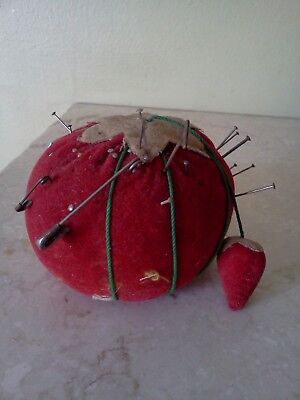 Vtg Pin Cushion Tomato w/ Strawberry needle Sharpener Pins & Needles Japan