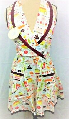 RETRO Mid Century Modern Apron w/ Old School Bakery Fabric Pattern - NEW w/ tags