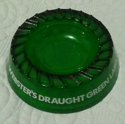 Vintage Websters Draught Green Label Beer of England Ashtray Green Glass