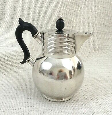 Antique Victorian Silver Plated Coffee Jug Water Pot Ebony Wooden Handle