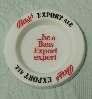 """Vintage """" Bass Export Ale """" White Glass Advertising Ashtray Pin Tray"""