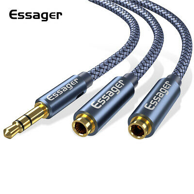 Audio Cable Splitter 3.5mm Male to 2RCA Female AUX Stereo Y Adapter For Phones