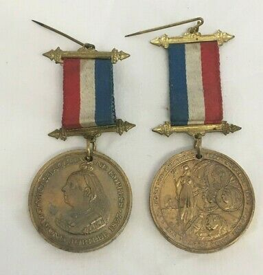Pair of 1897 Queen Victoria Diamond Jubilee Medals with Ribbons