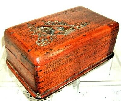 Antique Japanese Wooden Box, beautifully carved decoration of Pagoda