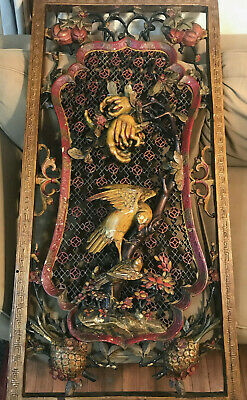 """Large Antique Chinese Carved Wood Panel """"Birds, Fruits & Foliage"""" 23.5 x 48 Inch"""