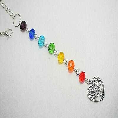 Heart Tree Of Life Rainbow Colourful Sun Catcher Rear View Car Mirror Charm