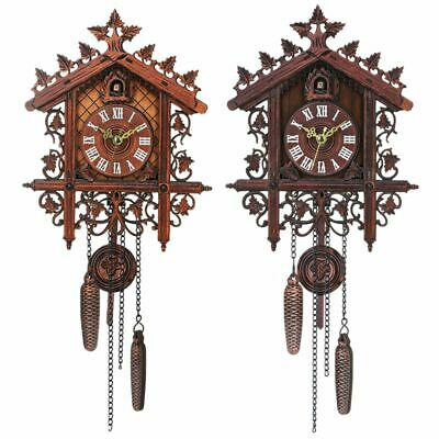 Vintage Wood Cuckoo Wall Clock Hanging Handcraft Clock For Home Restaurant D3P5