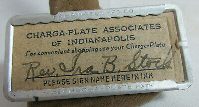 Vintage CHARGA-PLATE Indianapolis Indiana Charge Plate Rev.Ira B. Stock Danville
