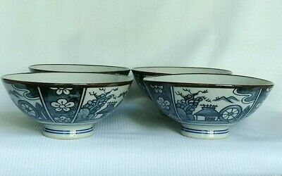 Vtg Set of 4 Japanese Porcelain Rice Bowls Blue/Grey & Brown Trim Signed