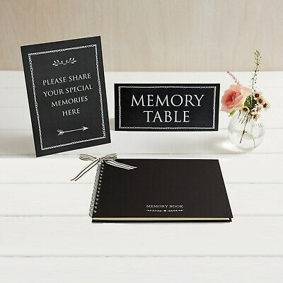A5 Luxury Black Memory Book & 2 Signs Set - Funeral Memory Table Condolence Book