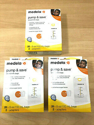 (3) Medela Pump & Save Breastmilk Bags 20ct and 2 Adapters Storage NIB