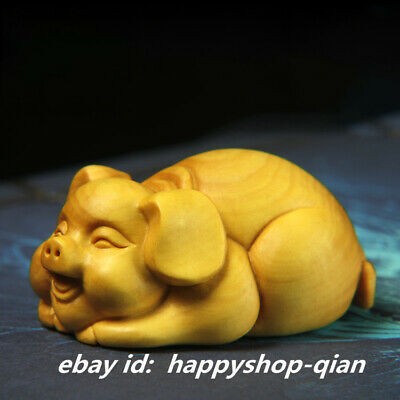64MM Chinese Box-wood Hand-carved Zodiac Year Animal Lucky Pig Tea Pet Statue生肖猪