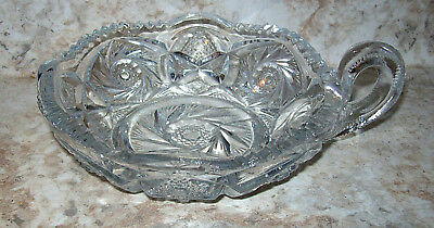 Vintage Clear Glass Scalloped Handled Nappy Bowl Dish w/ Sawtooth Rim Pinwheel