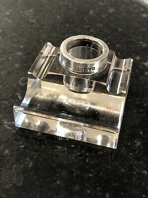 Antique Inkwell Silver Mounted Ink Stand Hallmarked Silver 1910 London Cut Glass