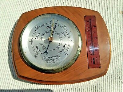 VINTAGE WEATHER STATION - COMITTI of LONDON BAROMETER & THERMOMETER WOOD BASE
