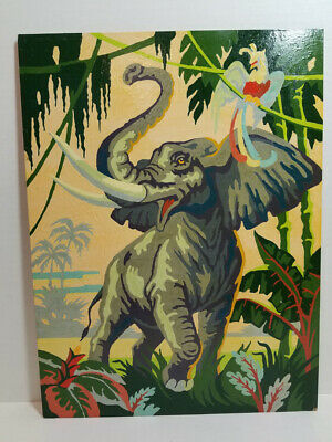 Vintage Paint by Number Exotic Jungle ELEPHANT and Parrot PBN Colorful!