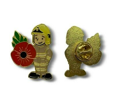 Fire Fighter Poppy Pin Badge