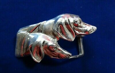 Antique Sterling Silver Brittany Spaniels Handmade Solid Buckle - Hunting Dogs