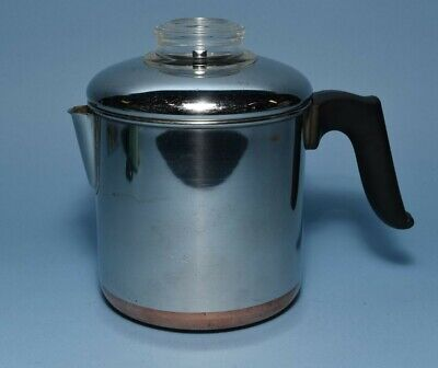 Revere Ware Stainless Steel 4-Cup Stove Top Percolator Coffee Pot Maker