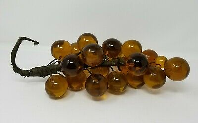 """Vintage Retro Mid Century Lucite Acrylic Resin Grape Cluster Gold Amber 10.5"""""""