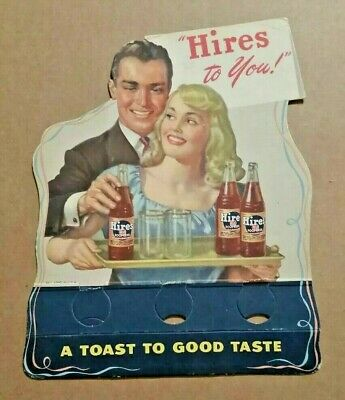 "Stunning Vintage 1940s ""Hires To You!"" Hires Root Beer 6-Pack Bottle Topper Sign"