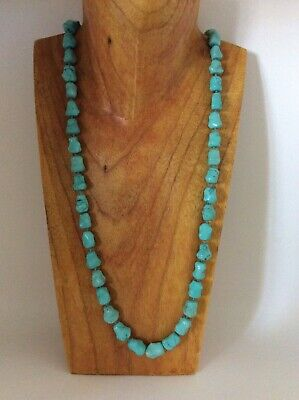 Antique Chinese Turquoise Bead Necklace - 29 Inches 75g