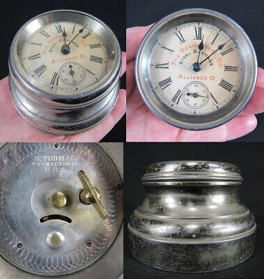 RARE antique Seth Thomas Advertising Clock PAPERWEIGHT miniature SOLID STEEL CO.