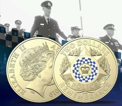 1x Coin 2019 Australian $2 Police Remembrance Uncirculated Two Dollars Unc Coins