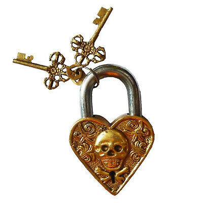 Ghost Face Shape Antique Vintage Style Handmade Brass Padlock with Working Keys