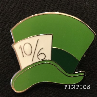 Disney Pin 125438 Alice in Wonderland Icon Mad Hatter Hat Green Tophat 10/6 band