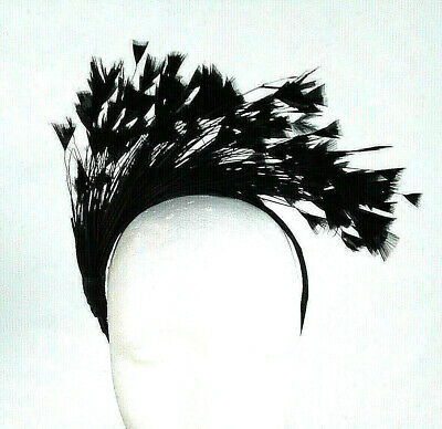 Black Feather Fascinator/Crown/Tiara On Satin Headband, Spring Races,Wedding