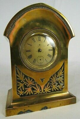 Antique Ansonia Clock Co small case BRASS shelf mantle floral