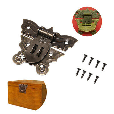 1Pc Retro chic butterfly latch catch jewelry wooden box lock hasp pad chest l!Q