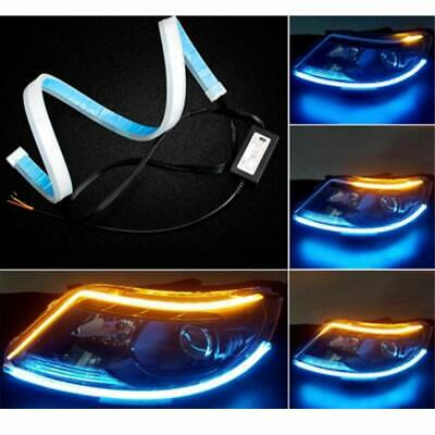 2x60CM LED DRL Lamps Turn Signal Strip Light Flexible Soft Tube ice blue & amber