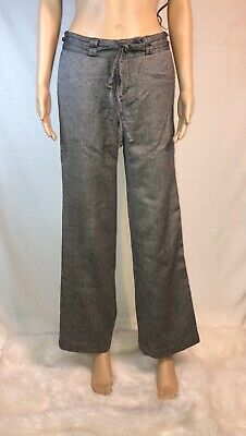 Plaid Micro Houndstooth Wool Blend Wide Leg Lined Pant Low Waist Trouser Career