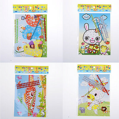 12 Pcs DIY Bling  Diamond Sticker Handmade Crysta Paste Painting Kids Craft!Q