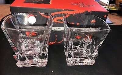 "Premium Crystal 11 Oz. Whiskey, Tequila, Rum Glasses Set of 2 Fun ""Square Deal"""