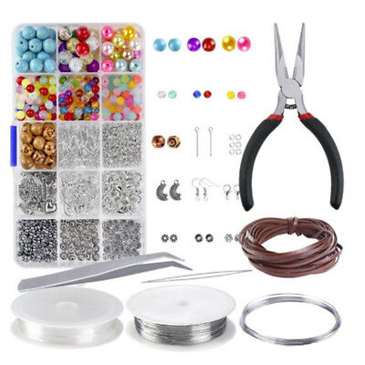 Large Jewelery Making Kit Starter Tool Pliers Set Silver Beads Findings Threa!Q