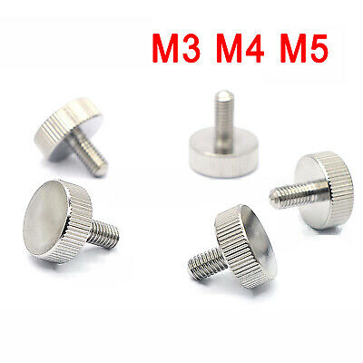 M3/M4/M5 Cylinder Head Knurled Thumb Screws Stainless Steel Hand Grip Knob Bolts