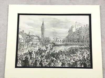1875 Antique Print Darlington County Durham Town High street Railway Jubilee