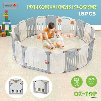 ABST 18 Sided Foldable Panel Baby Playpen Kids Safety Gate Interactive Baby Room